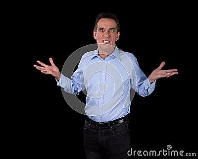 Shocked Surprised Business Man Hands Raised