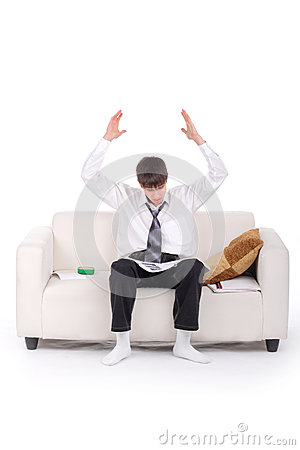 Shocked Teenager on the Sofa