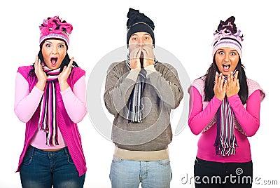 Shocked three friends