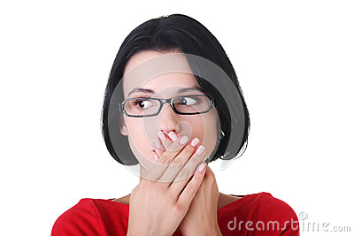 Shocked woman covering her mouth with hands