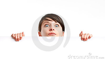 Shocked woman holding an empty sheet of paper