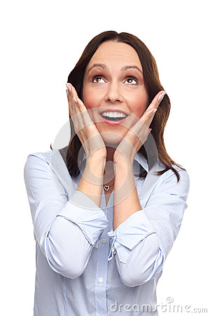 Shocked woman looking up