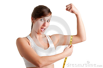 Shocked Woman measuring her Biceps
