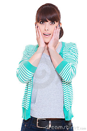 Shocked woman over white background