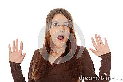 Shocked woman portrait