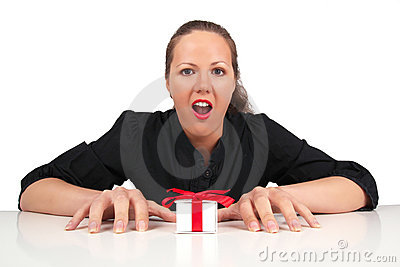 Shocked woman with present box