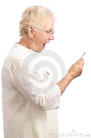 Shocked woman reading message