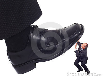Shoe crushing a businessman