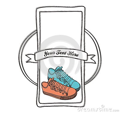 Shoe label hand draw