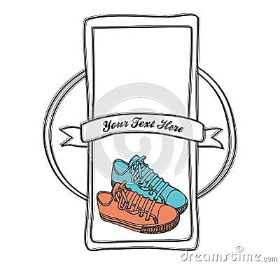 Shoe label hand draw