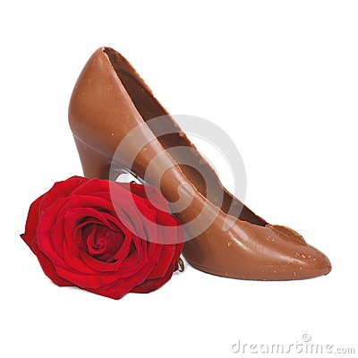 Shoe made of chocolate and red rose