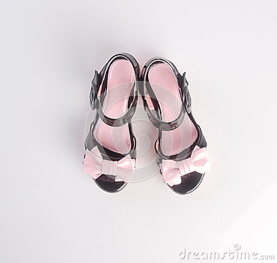 Free Shoe Or Beautiful Little Girl Shoes On A Background. Stock Photography - 82808822