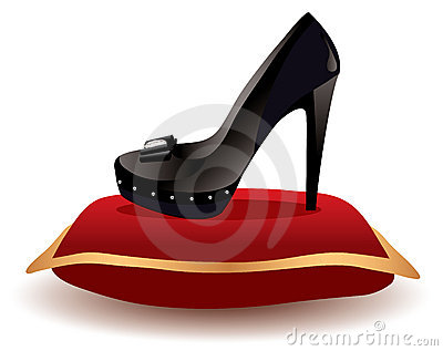 Shoe on the pillow, vector