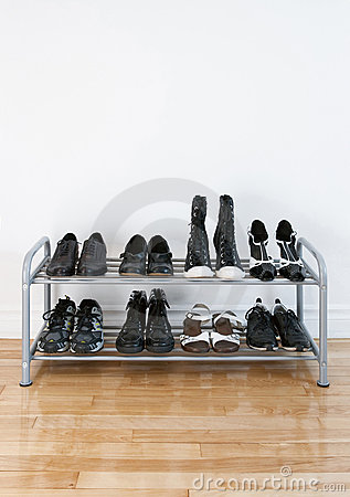 Shoe rack on a wooden floor