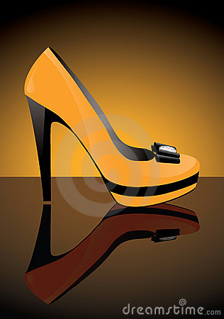 Shoe with reflection, vector