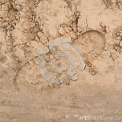 Free Shoe Step Left In The Sand Royalty Free Stock Image - 45983956