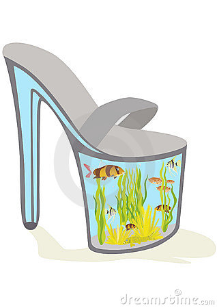 Shoes with aquarium fish