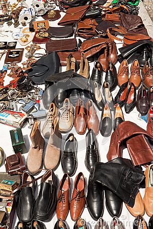 Shoes and bags on a flea market Editorial Photo