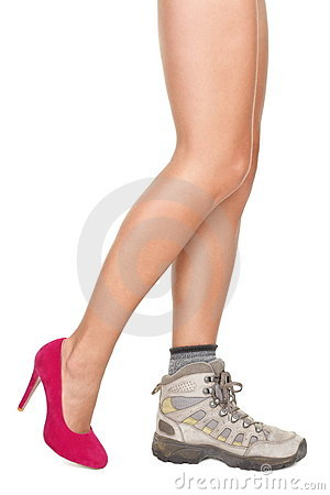 Shoes decision concept - High heels or sports shoe