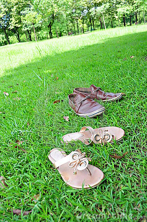 Shoes on a grass