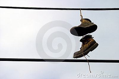 Shoes Hanging from a telephone wire
