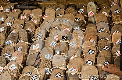 Shoes at Hyderabad Mosque Editorial Stock Image