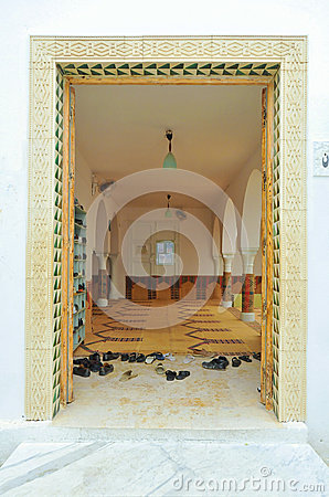 Shoes in a mosque doorway