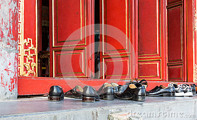 Shoes outside of a Buddhist Temple