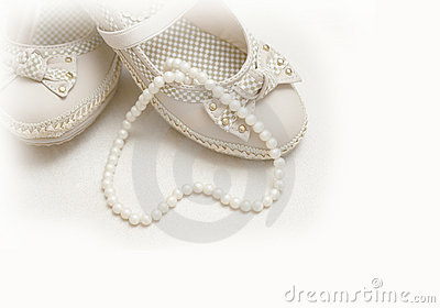 Shoes and pearls for wedding