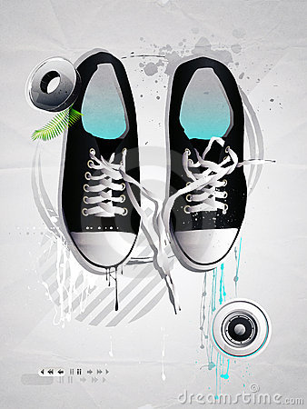 Shoes sneakers vector on a gray backgroun