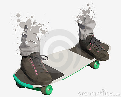 Shoes and standing on skate board