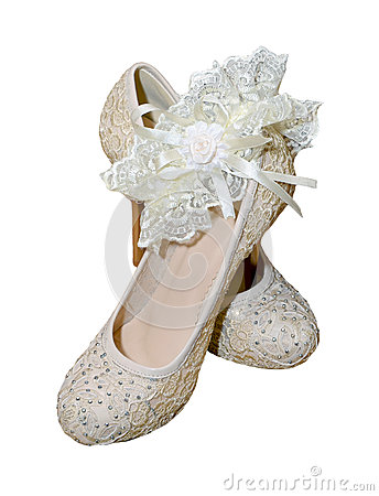 Free Shoes With Garter For Bride Royalty Free Stock Photography - 27017287