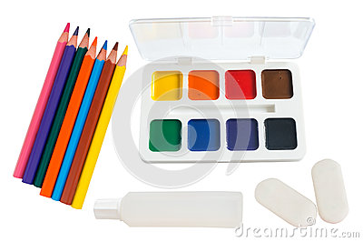 Shool accessories, pencil, eraser, glue, paintson on a white bac