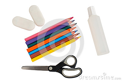 Shool accessories, pencil, eraser, glue, scissors