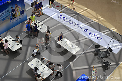 Shoot down samsung mobile phone shop Editorial Stock Image