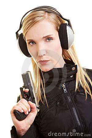 Shooter with ear protection