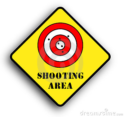 Shooting area warning sign