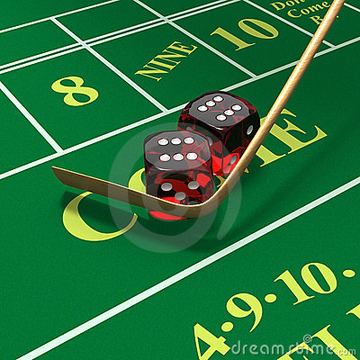 Shooting craps or dice on green felt background