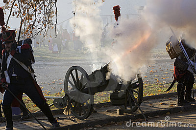 Shooting from the historic cannon Editorial Photography
