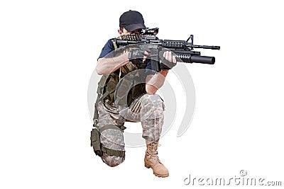 Shooting mercenary isolated