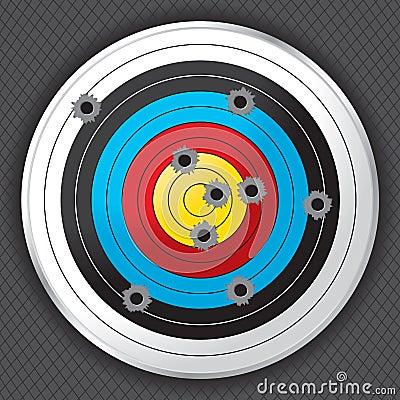 Shooting Range Gun Target with Bullet Holes