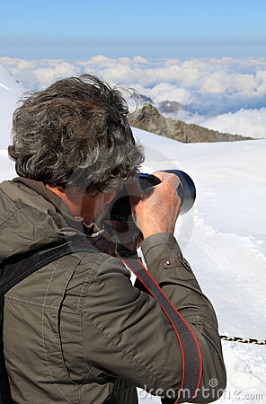 Shooting snow, ice and clouds of the Jungfraujoch