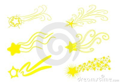 Isolated set of shooting Stars in yellow