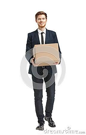 Shop assistant brings the parcel