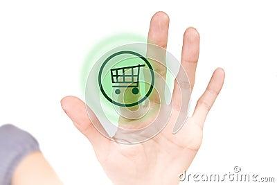Shop button on white touchscreen