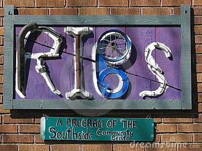 Shop entrance sign-- Recycle Ithaca s Bicycles. Editorial Image