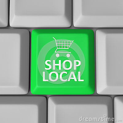 Free Shop Local Computer Key Shopping Cart Support Community Royalty Free Stock Photo - 31478435