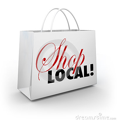 Free Shop Local Support Community Shopping Bag Words Stock Images - 31478434