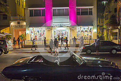 Shop at the Ocean Drive in Miami Beach at night Editorial Image