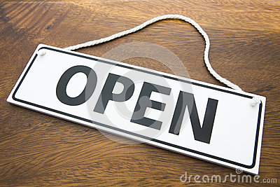 Shop Open Sign On Wooden Background